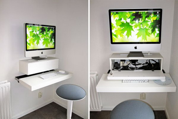 ikea hack wall mounted computer desk - Ikea Computer Desk Ideas