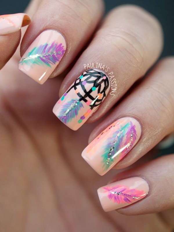 35 Cool Dream Catcher Nail Designs For Native American Fashion 2017
