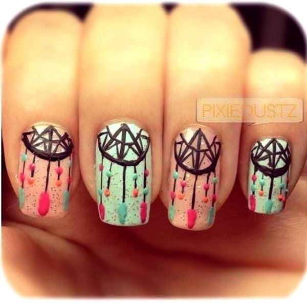 Lots of dream catcher nail designs and ideas. How beautiful and unique with  such good - 35+ Cool Dream Catcher Nail Designs For Native American Fashion 2017