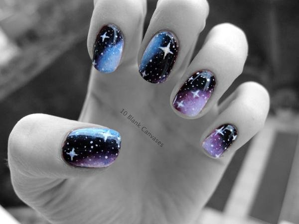 Galaxy Deep Purple Star Nails - 50+ Cool Star Nail Art Designs With Lots Of Tutorials And Ideas 2017