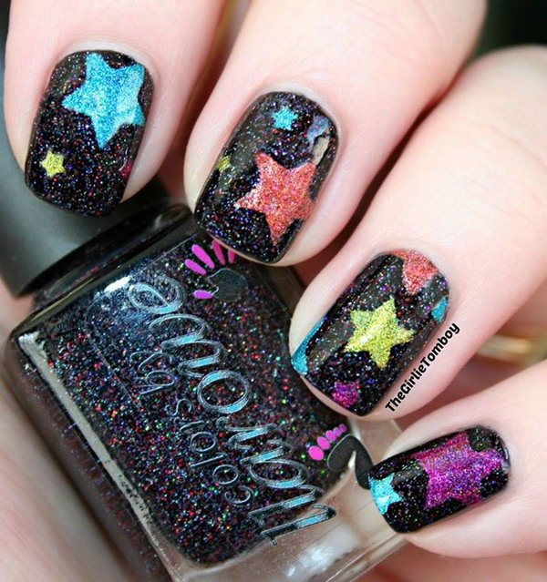 Spring Color Star Nails with Glitter. This is all sorts of perfect! I love it, so clever! :)