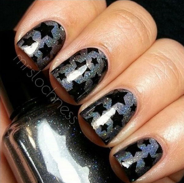50 cool star nail art designs with lots of tutorials and ideas 2017 glitter gray nail designs with black star prinsesfo Image collections