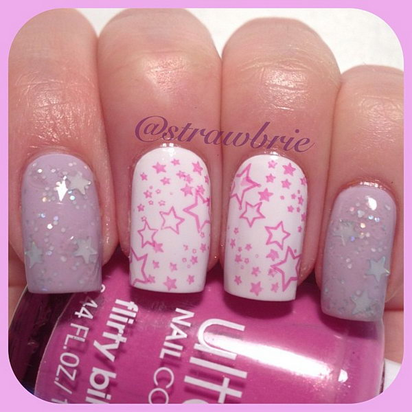 Shinny Pink Star Nails. This is all sorts of perfect! I love it, so clever! :)