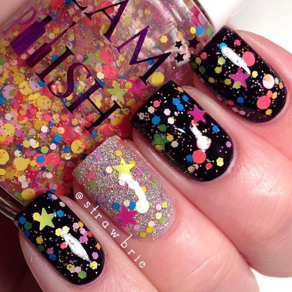 Colorful Glitter Star Nails. This is all sorts of perfect! I love it, so clever! :)