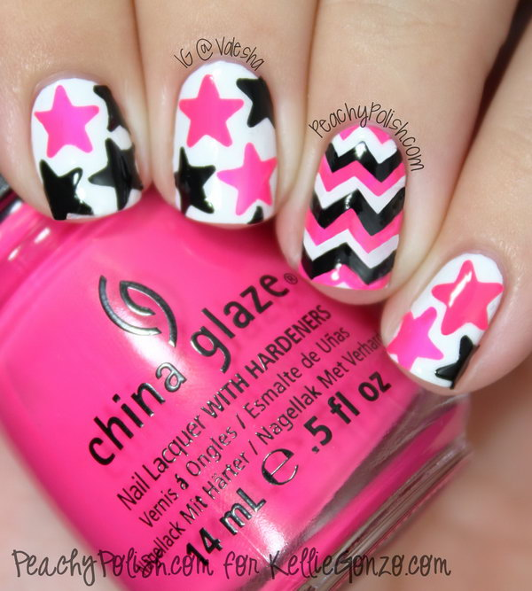 Pink, Black and White Star Nails. This is all sorts of perfect! I love it, so clever! :)
