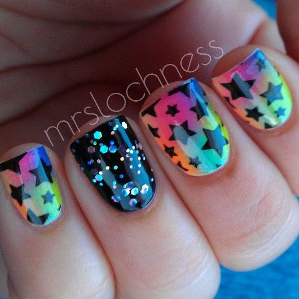 Rainbow Nails with Black Stars. This is all sorts of perfect! I love it, so clever! :)