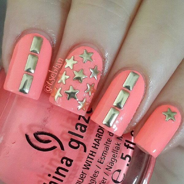 Studded Gold Star Nail Art. This is all sorts of perfect! I love it, so clever! :)