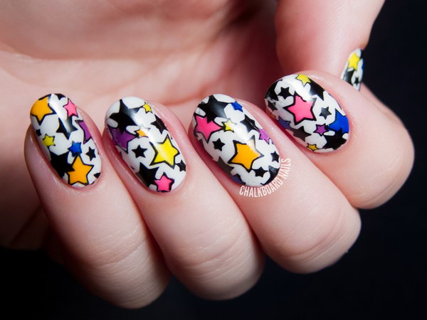 Bright and Glow Star Nails. This is all sorts of perfect! I love it, so clever! :)