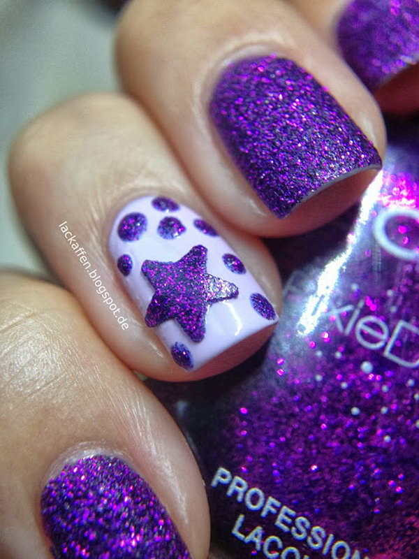 Purple Star Nails with Glitter. This is all sorts of perfect! I love it, so clever! :)