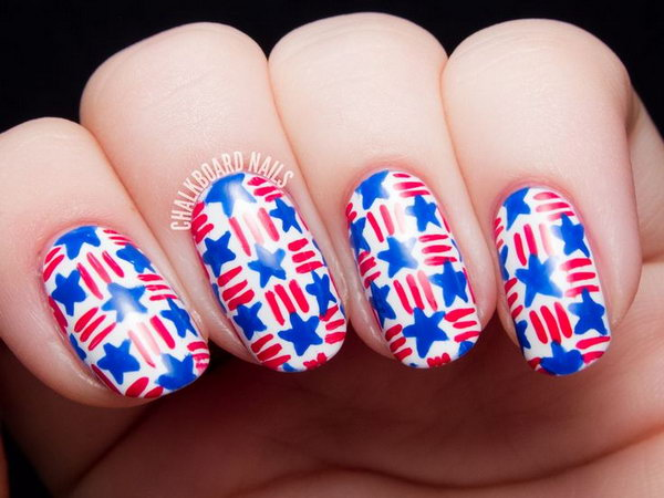 Stars and Stripes Basket Weave Nail Art. This is all sorts of perfect! I love it, so clever! :)