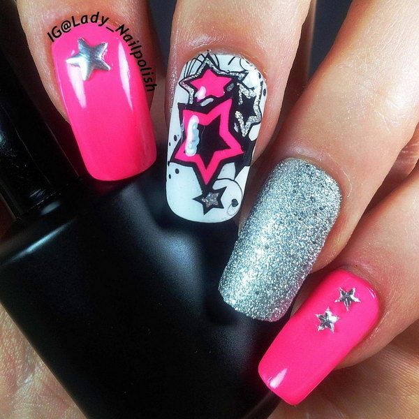 Neon Stars Manicure Version. This is all sorts of perfect! I love it, so clever! :)