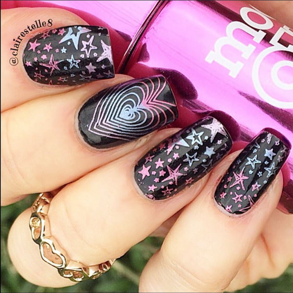 Black Hearts and Stars Nail. This is all sorts of perfect! I love it, so clever! :)