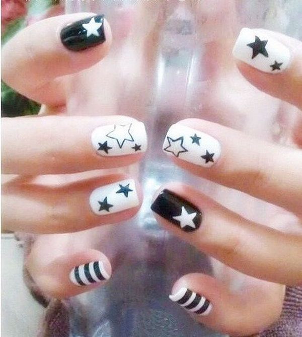 Black and White Star Nail Art - 50+ Cool Star Nail Art Designs With Lots Of Tutorials And Ideas 2017
