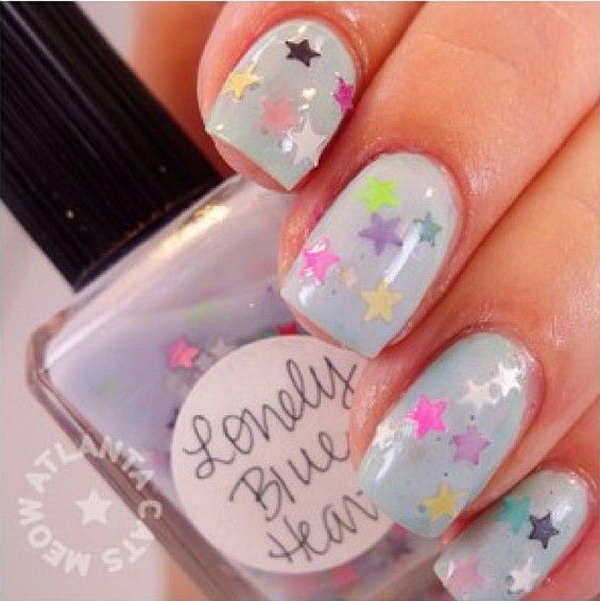Gray Nails with Colorful Stars. This is all sorts of perfect! I love it, so clever! :)