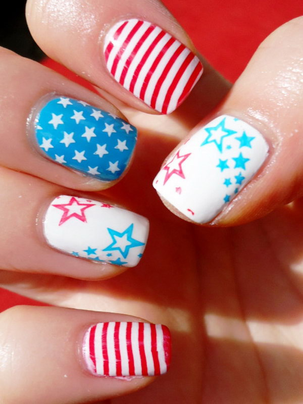Red, White and Blue Stars and Strips Nails. This is all sorts of perfect! I love it, so clever! :)