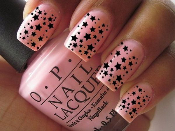 Pink and Black Star Nail. This is all sorts of perfect! I love it, so clever! :)