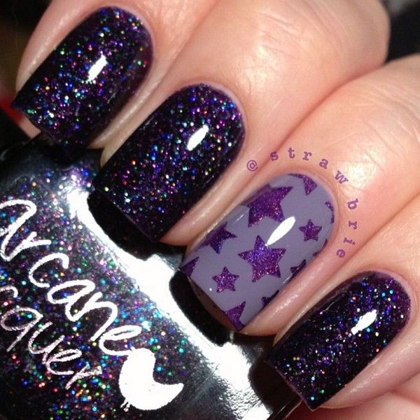 Deep Purple Star Nails. This is all sorts of perfect! I love it, so clever! :)
