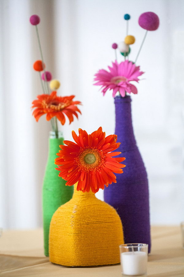 25 diy yarn crafts tutorials ideas for your home for Things out of waste