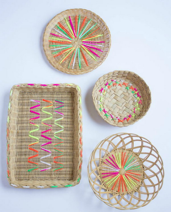 Yarn Embroidered Baskets. See the full tutorial