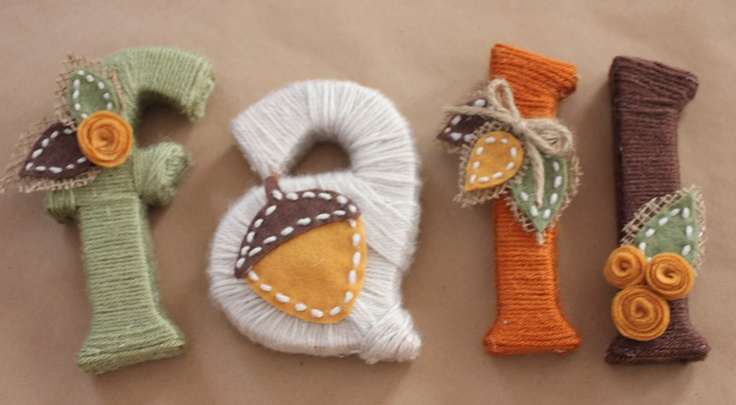 Yarn Wrapped Decoration Letters.