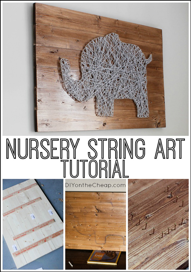 DIY Yarn String Art. See the tutorial