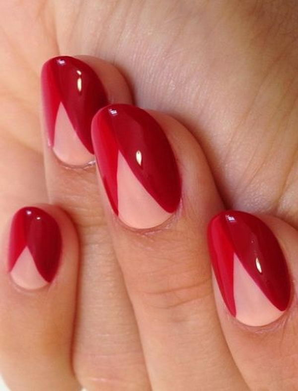 1 color block nail designs
