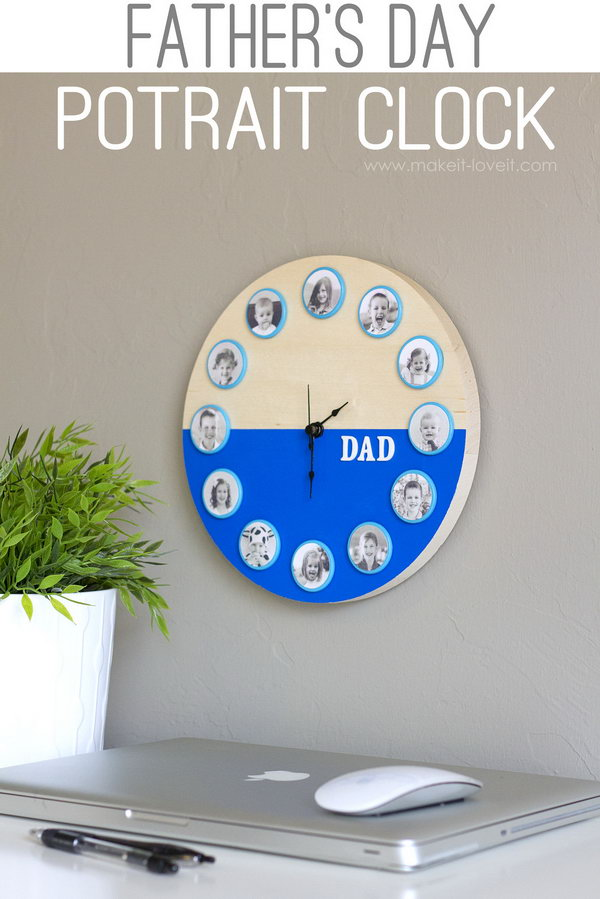 What a lovely and sweet Fatheru0027s day portrait clock gift that would & 50 DIY Fatheru0027s Day Gift Ideas and Tutorials 2017