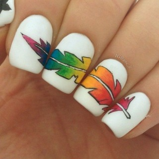 Creative Feather Nail Art Designs