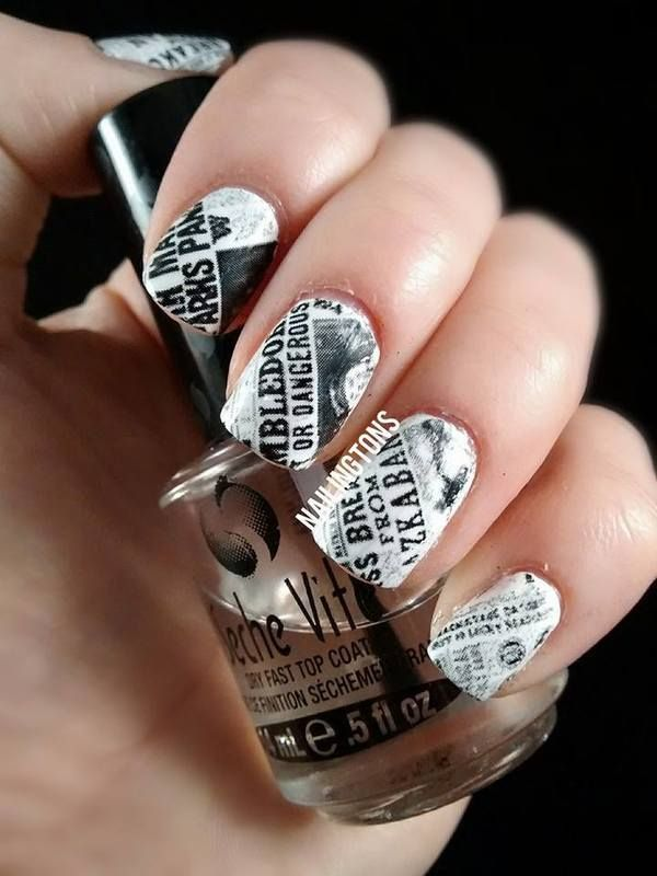 20 Cool Newspaper Nail Art Ideas 2017