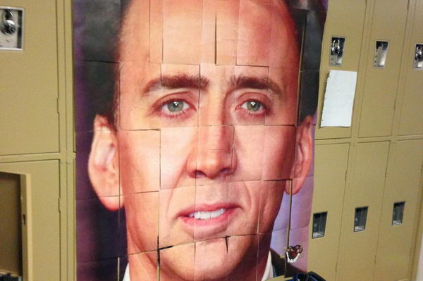 nicolas cage photo locker decoration a group of juniors taped segments of a photo of