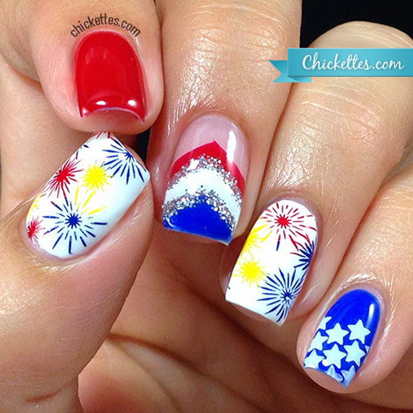 Glittery Fireworks Nails: This is quite a sparkling festive manicure to  celebrate the great birthday - 30 Flashing Patriotic 4th Of July Fireworks Inspired Nail Art Ideas
