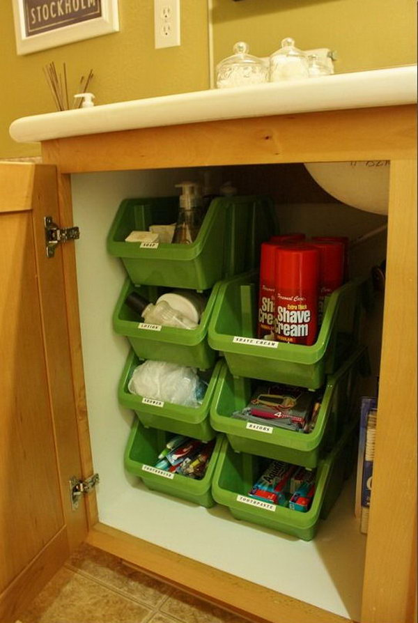 Stacking Plastic Bins Under Bathroom Cabinet. These Stacking Containers  From The Dollar Tree Stack Vertically