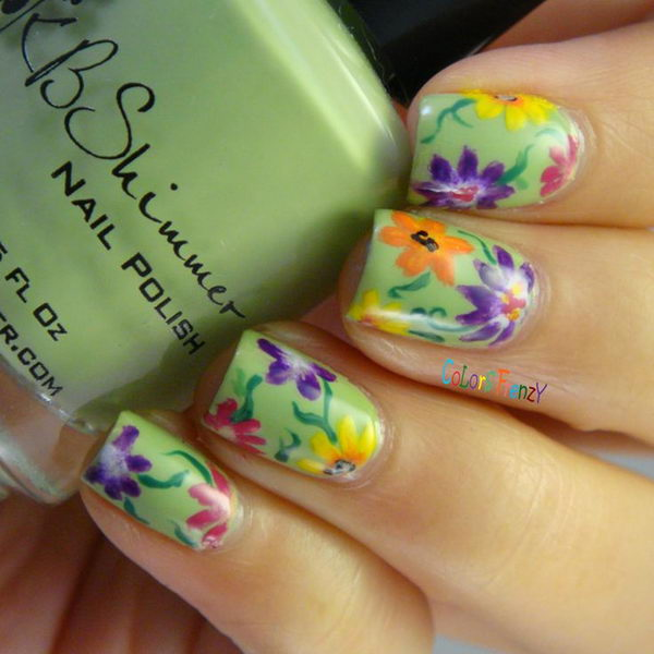 2 pretty flower nail designs