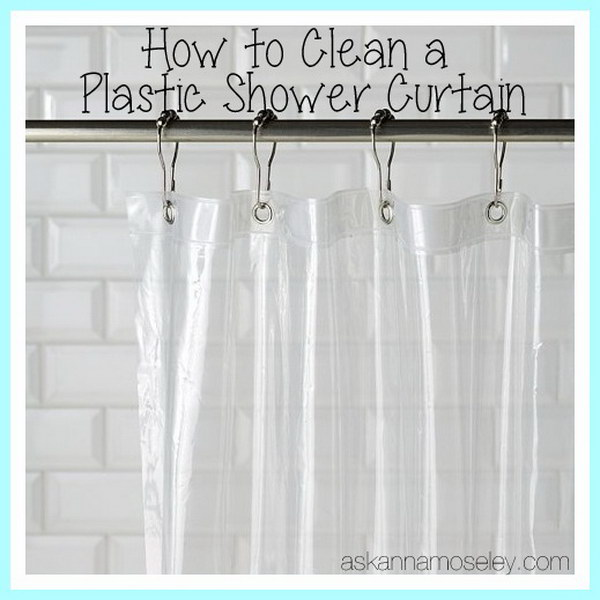 How to Clean a Plastic Shower Curtain?  Plastic shower curtain is not easy to wash. But you can add some white vinegar to the load of the washing machine along with some towels.  Towels can keep it from bunching up. More directions via
