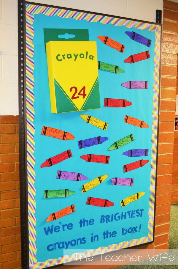 Crayon Box Bulletin Board. You can have your students write their names on the crayons and post them together in the classroom together with a crayon box. You can  get a free printable for the crayon