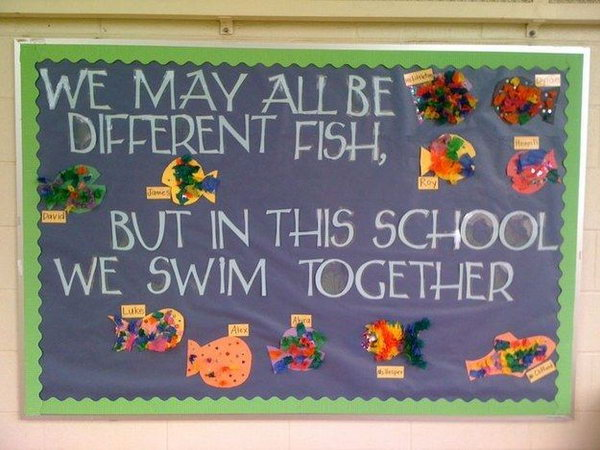 Fish or Ocean Themed Bulletin Board. You could invite your students to design their own ocean creatures and then post them on a basic board. This will be a classroom bulletin board full of your kids' imagination.