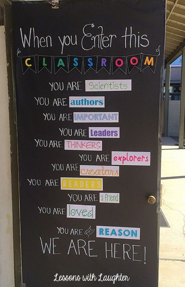 'When you enter this classroom, you are...' Bulletin Board Idea. Such a creative and genius way to inspire students and set the tone for a wonderful year of learning!