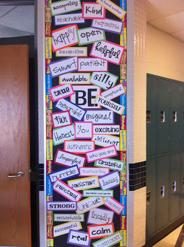 'Be' Bulletin Board Ideas. Talk to your students about the qualities it takes to be a successful student. This is a great way to encourage the character traits you wish to see in your students and It is a perfect idea for your classroom door decoration.