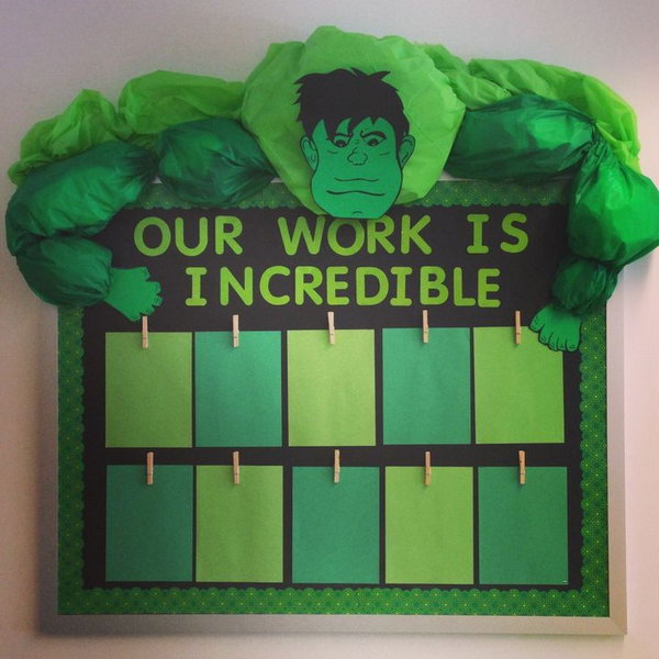 Superhero Themed Classroom Bulletin Board. Show off your students' best works with this mean, green and downright incredible board in the classroom.