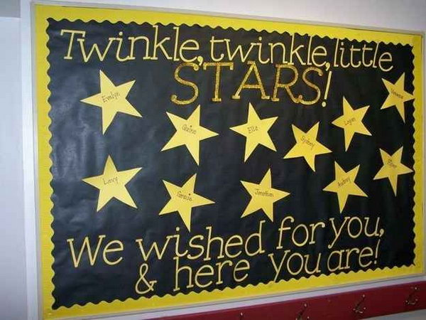 A Classroom Full of Stars. Simple, striking and easy to make this stars bulletin board.
