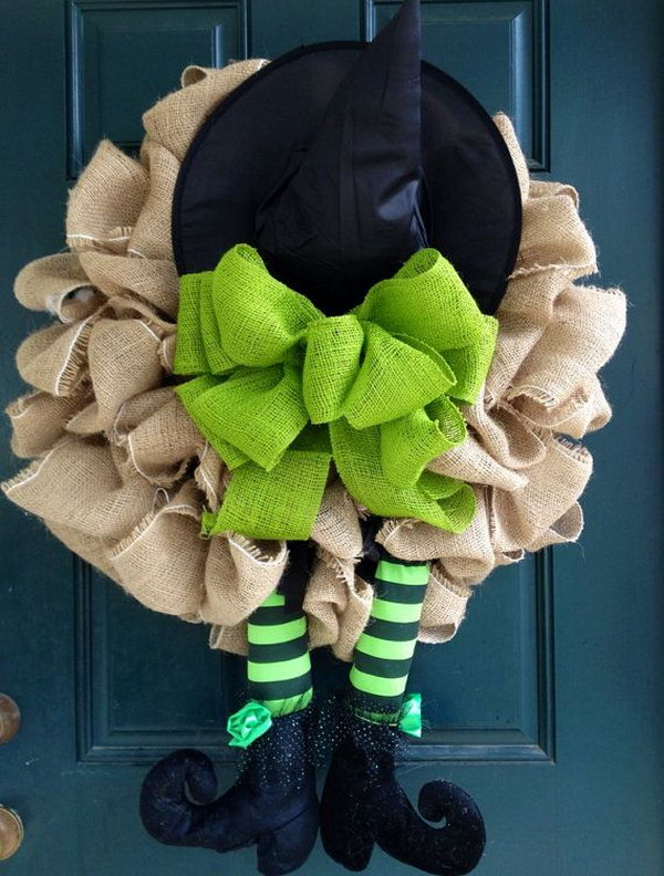 DIY Burlap Witch Wreath.