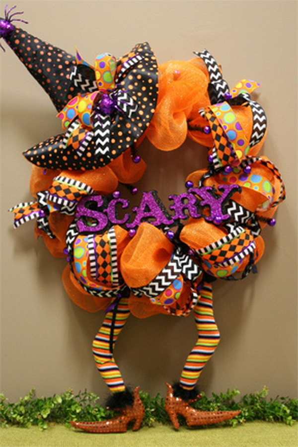 DIY Scary Witch Wreath.