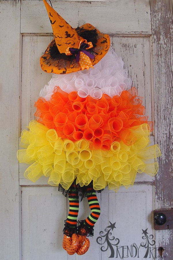 DIY Candy Corn Witch Wreath.