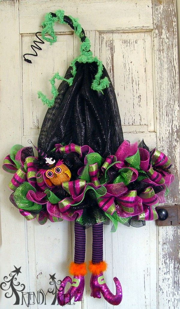 Deco Poly Mesh Witch Hat with Legs.