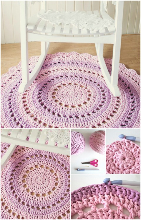 Crochet T shirt Yarn Rug.