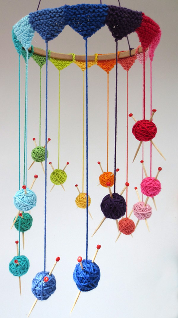 Knitting Wind Chime. Knit some tiny bunting to go round a wooden hoop and suspend all the little balls. This wind chime craft requires minimal knitting skill but is really a fun project to start off with. Tutorial via