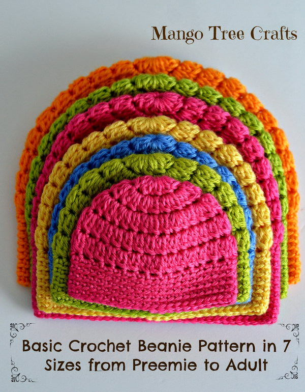 Crochet Beanie. Bring a pop of colors and crochet these simple beanie in all sizes from preemie to adult. Get the free crochet pattern