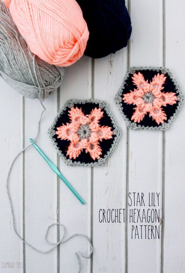 Hexagon Star Lily Crochet Coaster. The whole crocheting goes pretty. Perfect beginner's crochet projects. Have fun!