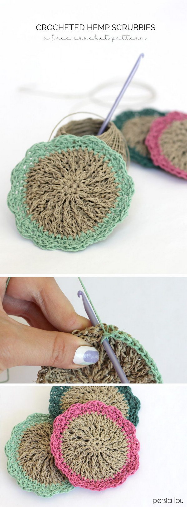 Crocheted Hemp Scrubbies.