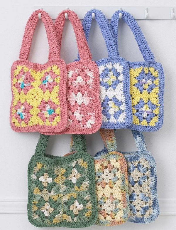 Granny Crochet Square Bags. Bring a pop of fun color to crochet this beautiful square bags with fun. Perfect crochet projects for your little girls. Tutorial